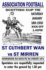 ST Cuthbert Wanderers-vintage anni 1930 stile MATCH POSTER