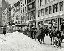 Vintage Old New York City photo  23rd Ave  Street Cars Horses and Hacks Snow