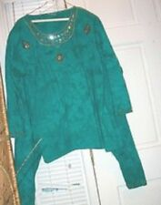 FOCUS 2 PC SET GREEN KNIT PANTS, TOP, RHINESTONES, STUDS + EMBROIDERY, 18W, VGC