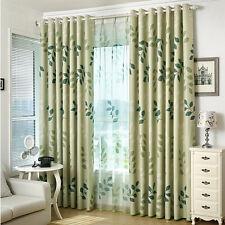 LEAVES PRINT Blockout Eyelet Curtain Leaves Light Green 140cm x 230cm