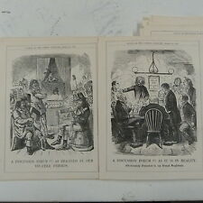 """7x10"""" punch cartoon 1858 A DISCUSSION FORUM french neighbours , double page"""