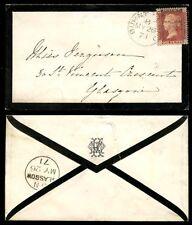 PENNY RED SCOTLAND 1871 MOURNING ENVELOPE BURNTISLAND FIFE