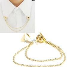 Necklace Punk Spike Stud Triangle Blouse Shirts Collar Neck Tip Brooch Pin Chain