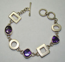 "Vintage Sterling Silver Purple Stone Bracelet - 7.5"" - 26.38 Grams, Item# N784"