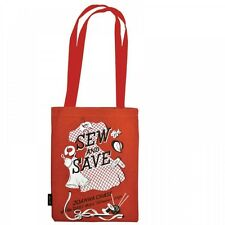 New Retro 'Sew And Save' Joanna Chase Cotton Tote Shopping Bag Travel Gym Beach