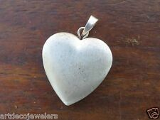 Vintage silver PUFFY PUFF BRUSHED HEART PHOTO LOCKET charm  #M