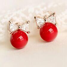 925 Sterling silver Ladies Girls Cute Bowknot Swarovski Crystal Stud Earrings