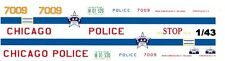 CHICAGO Police Car 1/43rd Scale Slot Car Waterslide Decals