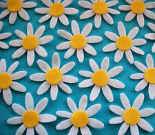 16 x Felt  Daisy Die Cuts White Appliques Flower Shapes Embellishments Toppers