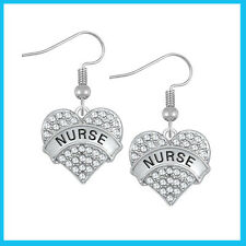 NURSE HEARTS CRYSTAL DROP EARRINGS