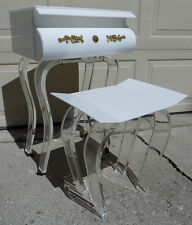 Amazing Lucite Vanity stool chair mirror Hollywood Regency 1960s vintage acrylic