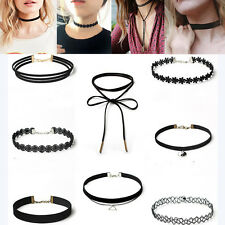 8Pcs Sexy Gothic Punk Velvet Lace Choker Pendant Chain Necklace Set Jewelry