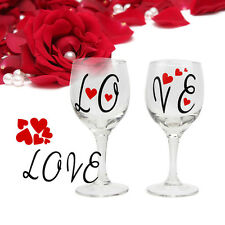 5pcs Valentine's Love & Hearts  Day Vinyl Decal Sticker DIY Glitter Wine Glass