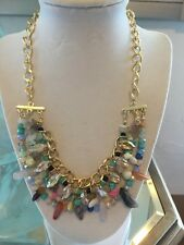 NWOT Multi Color Natural Stone And Sparkle Bib Statement Necklace Anthropologie