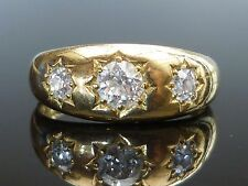 Stunning Victorian 18ct gold 0.72ct 3 Old Cut diamond gypsy star set ring M5