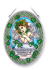 """AMIA STAINED GLASS SUNCATCHER SHELTERING ANGEL IRSH 5.5"""" X 7"""" OVAL  42057"""