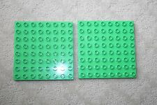 "2 Lego Duplo Base Plate Green  8x8 5""x5"" Floor Foundation"