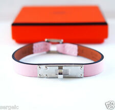RARE NIB Authentic Hermes Micro Kelly Rose Sakura PINK Leather Bracelet S Small