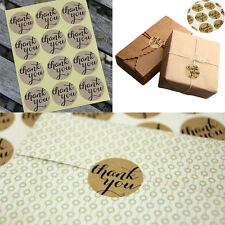 120 X Thank You Craft Packaging Seals Kraft Sticker Label Wedding Favours Topper