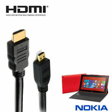 Nokia Lumia 2520 Tablet HDMI-D Micro to HDMI TV Monitor 2m Gold Cord Lead Cable