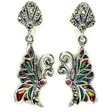 Sterling Silver 925 Genuine Enamel, Ruby & Marcasite Butterfly Dangle Earrings