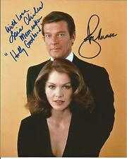 Hand Signed 8x10 colour photo ROGER MOORE & LOIS CHILES  in JAMES BOND + COA