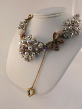 BETSEY JOHNSON PINK BOW PEARLY RHINESTONE NECKLACE DESIGNER