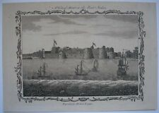 1771 ENGRAVING VIEW OF SURAT INDIAN FORT SEAPORT RIVER TAPTI SHIPS GUJARAT INDIA
