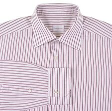 CURRENT Ermenegildo Zegna White Woven Stripe Spread Collar Dress Shirt 16