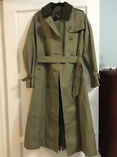 EUC BURBERRY PRORSUM Designer Trench Coat Womens Green Wool Lining Removable 6L