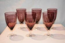 Lot 6 Antique Vintage Crystal Base Amethyst Glass STEMWARE Elegant Wedding Art