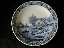 Delfts COTTAGE Flow Blue Transferware Charger Plate Boch Royal Sphinx Holland