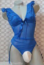 """Crossdress for Men Blue Sheer Mesh Teddy w Garters Sissy Pouch Panty LG 32""""- 36"""""""
