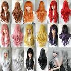 New Women Lady Long Hair Wig Curly Wavy Synthetic Anime Cosplay Party Full Wigs