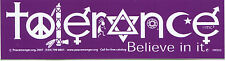 "TOLERANCE ""Believe In It"" STICKER - religious symbols coexist peace racial decal"