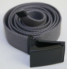 "NEW FLIP TOP ADJUSTBLE 62"" INCH STEEL GREY MILITARY WEB CANVAS BLACK BELT BUCKLE"