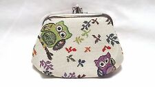 Colourful Owl Design Tapestry Double Section Coin Frame Purse by Signare