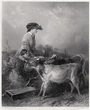 """Richard ANSDELL Antique 1800s Engraving """"Young Cow meets Young Boy"""" SIGNED COA"""