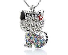 Kristall Katzen Anhänger+Kette versilbert Silber Bunt Strass Collier Tier Mode