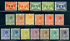 NETHERLANDS #142a-69a Mint - 1925 Wilhelmina Syncopated Perf Set