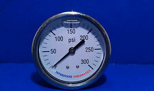 "Oil Filled Pressure Gauge 1/4"" Brass NPT Back Mount 300 PSI 2.5"" Chrome Case"