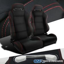 Black Red Stitching JDM Speed Racing Seats Reclinable Style Left+Right