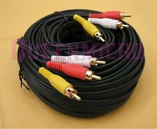 50FT 3-RCA Composite AV Audio Video Gold Plated Cable Male to Male 50'