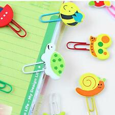 2 Pcs Office Home Desk Decor Cute Cartoon Wooden Paper Clip Note Mark Bookmarker