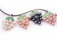 4 pcs Colorful Pretty grape pearl Necklace pendant white pink lilac black