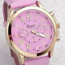 Women's Watch Geneva Roman Numerals Faux Leather Analog Quartz Wrist Watch Pink