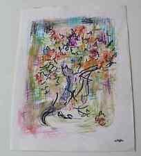 Dessin Charles Kiffer (1902-1992) scène Chat & Fleurs fauviste env 1970 cachet