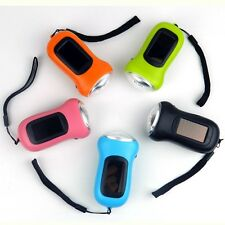 Mini LED Hand Crank Dynamo Solar Powered Flashlight Torch 5 colors outdoor camp