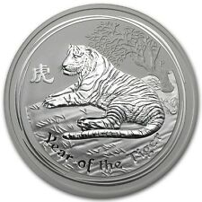 Perth Mint Australia 2010 $8 Lunar Series II Tiger 5 oz .999 Silver Coin