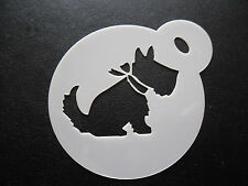 Laser cut small scotty dog with bow design cake, cookie and craft stencil